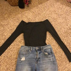 Off the shoulder charcoal grey brandy Melville top